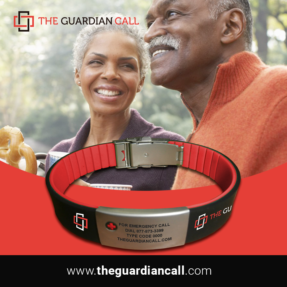Happy black couple using bracelet